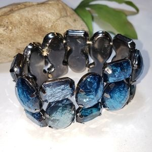 Iridescent Blue Green Stretch Fashion Bracelet